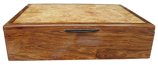 Honduras rosewood box front- Handcrafted men's valet box, keepsake box