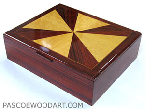 Cocobolo man's valet box - handmade wood keepsake box