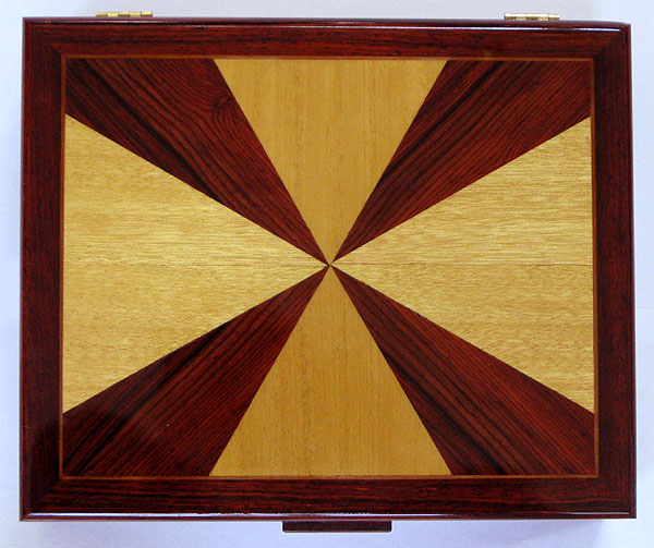 Cocobolo man's valet box - handmade wood keepsake box for man - top view -
