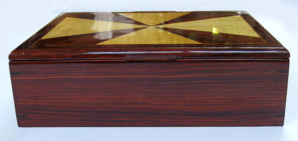 Cocobolo man's valet box - handmade wood keepsake box for man - front view