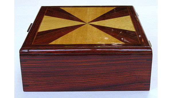 Cocobolo man's valet box - handmade wood keepsake box for man - side view