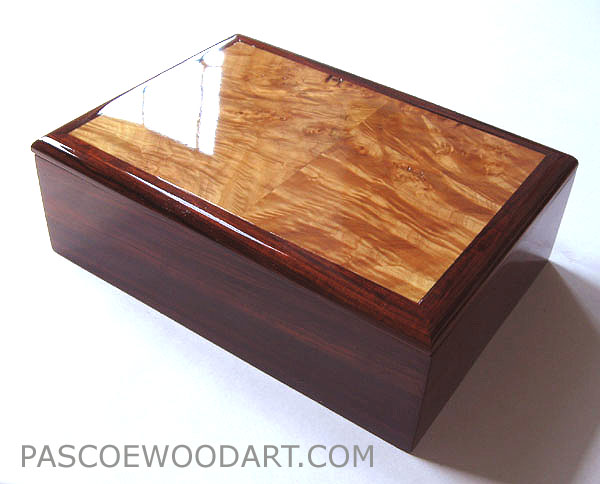 Cocobolo box - wood man's valet box, handmade man's keepsake box - Cocobolo and maple burl wood