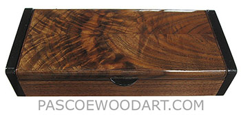 Handmade wood small box- Decorative mens' small box made of crotch walnut with ebony ends