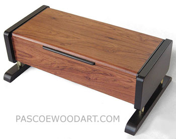 Decorative wood men's valet box - Handmade men's keepsake box made of Honduras rosewood, ebonized cherry