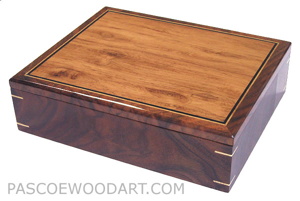 Decorative wood men's valet box, keepsake box - Handcrafted wood box made of heavy crotch walnut, highly figured Honduras rosewood