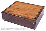 Decorative wood men's valet box, keepsake box made of walnut, Honduras rosewood