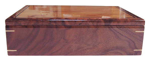 Handcrafted wood valet box - walnut front view