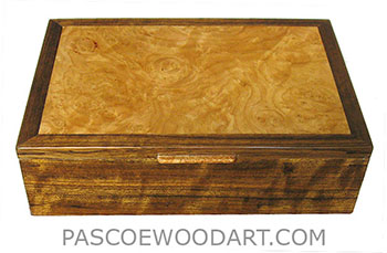Handcrafted wood box - Men's valet box, keepsake box made of shedua, chesnut burl