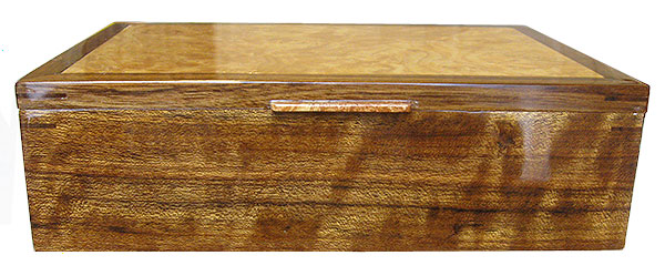 Handmade men's valet box - shedua wood front view