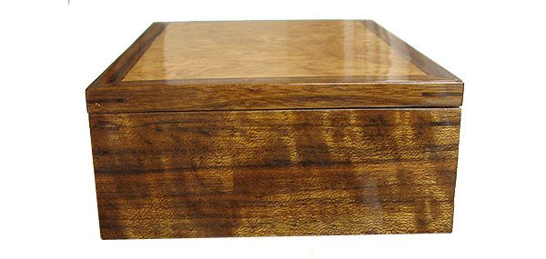 Wood valet box - shedua box side view
