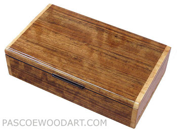 Handcrafted wood men's valet box - Keepsake box made of shedua, madrone birds eye burl