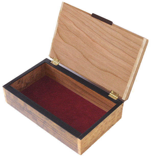Handcrafted wood men's valet box - open view