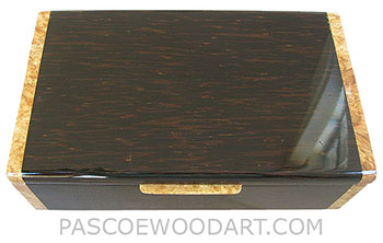 Handmade wood box - Decorative wood men's valet box, keepsake box made of black palm with maple burl ends