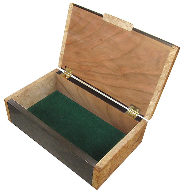 Handmade wood box - Men's valet box - open view