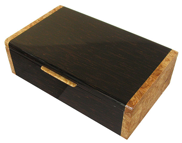 Handmade wood box - Decorative wood men's valet, keepsake box made of black palm with maple burl ends