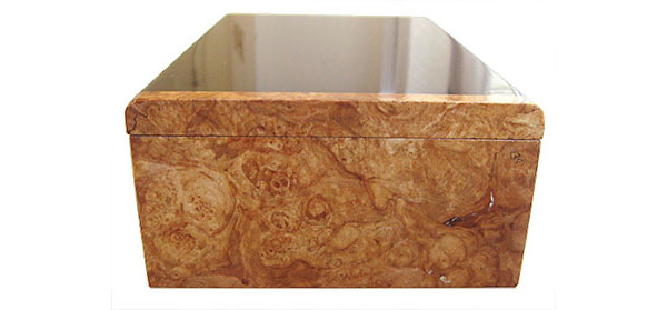 Maple burl box end - Handmade decorative wood men's valet or keepsake box