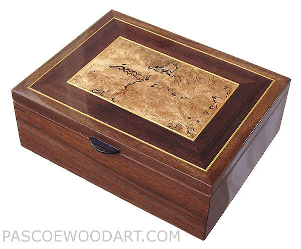 Handcrafted wood men's valet box, decorative keepsake box made of walnut with spalted maple burl inlaid top framed with Asian ebony, with Ceylon satinwood trims