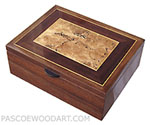 Handcrafted wood men's valet box, decorative keepsake box made of walnut, spalted maple burl, Asian ebony, Ceylon satinwood