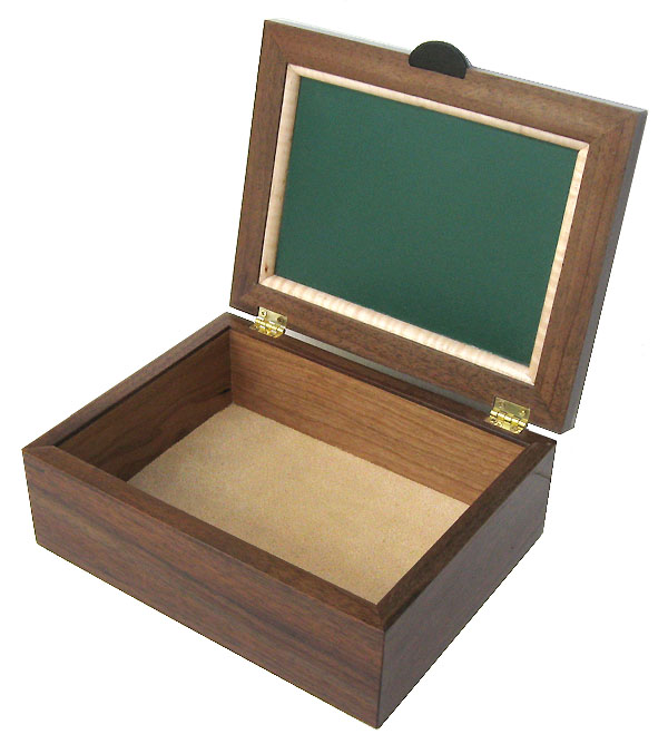 Handmade wood men's valet box, keepsake box - open view