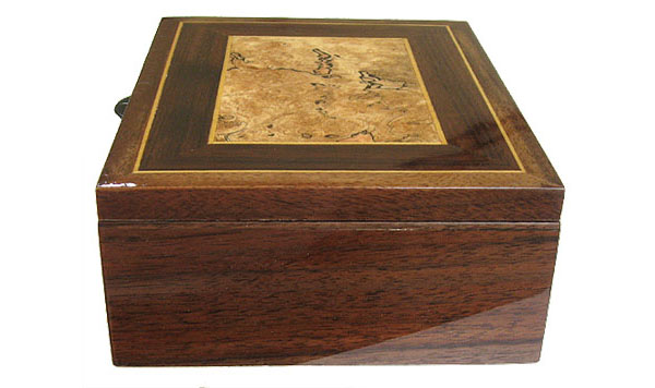 Decorative wood men's valet box, keepsake box - walnut side view