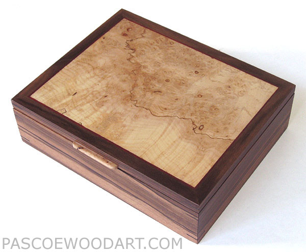 Decorative men's valet box - Handmade wood box made of Asian ebony laminated on cherry with spalted maple burl framed top