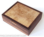 Decorative men's valet box, keepsake box made of Asian ebony, spalted maple burl