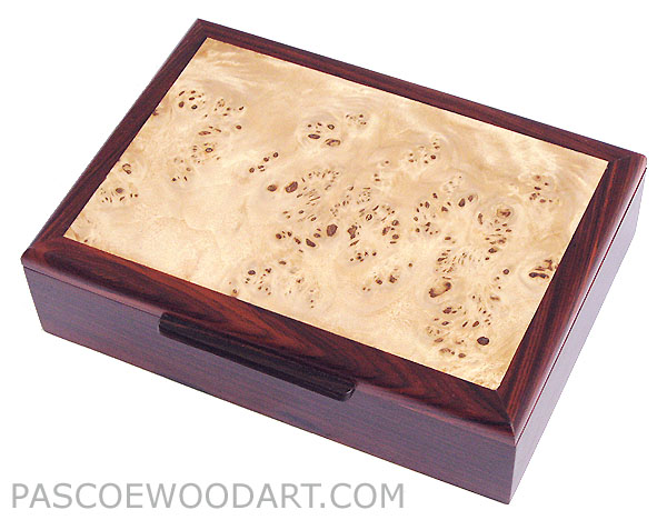 Decorative wood men's valet box, keepsake box - Handmade wood box made of cocobolo, mappa burl