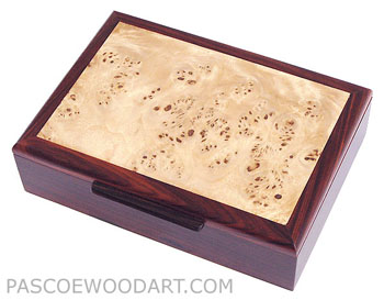 Decorative wood men's valet box or keepsake box -  Cocobolo wood handmade box with mappa burl veneer framed top