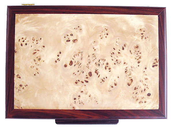Mappa burl men's valet box top - Handmade wood valet box, keepsake box