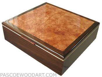 Large men's wood valet box, keepsake box made of East Indian rosewood, maple burl