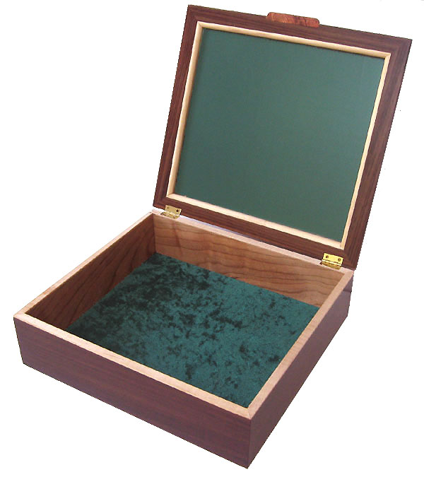 Large men's wood valet box - open view