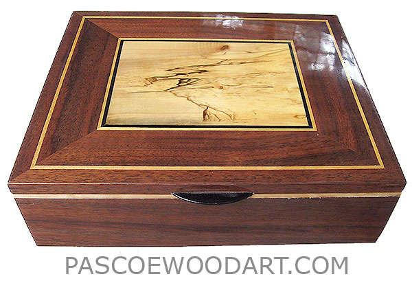 Large wood valet box, keepsake box made of claro walnut with top spalted maple framed in walnut with Ceylon satinwood and ebony trims