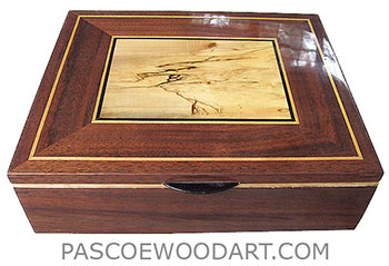 Handmade large wood valet box, keepsake box made of claro walnut with spalted maple framed in walnut top with  Ceylon satinwood and ebony trim