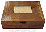 Handcrafted wood men's valet box, keepsake box made of bocote, bird's eye maple
