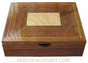 Large wood men's valet box, keepsake box made of bocote with sapele, bird's eye maple framed top