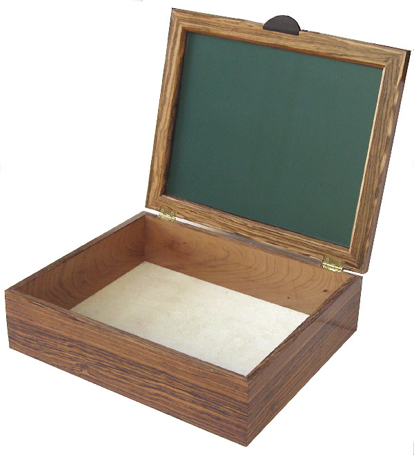 Handmade wood large men's valet box - open view