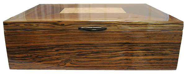 Decorative wood large keepsake box - Bocote wood front view