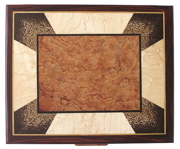 Decorative men's valet box - mosaic box top view - amboyna burl, end grain black palm, bird's eye maple