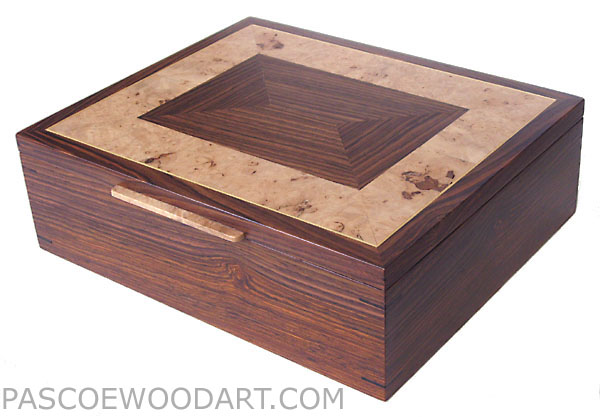 Men's valet box - Handcrafted wood men's box, keepsake box made of cocobolo, maple burl
