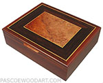 Handcrafted wood men's valet box, keepsake box - Decorative wood box made of cocobolo, amboyna burl, Ceylon satinwood