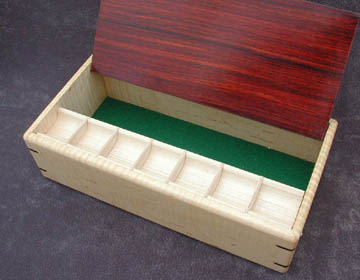 Handcrafted wood box: Medication Minder; pill organizer with a 7 day pill tray and storage up to 8 pill bottles: Tiger maple with cocobolo lid