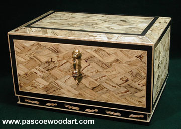 Nara Hako - Keepsake box - Spalited maple mosaic box with ebony edging and base, solid heavy brass drop pull and hinges