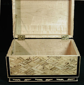 Nara Hako - Oven view - Keepsake box - Spalted maple box with ebony edging and base, heavy brass hardware