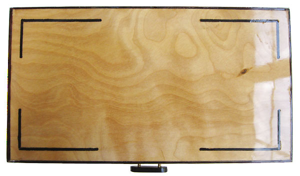 Flame birch box top with ebony inlay and cocobolo trim