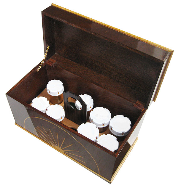 Handmade wood pill bottle organizer box - open view