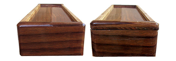 Handmade wood weekly pill box ends
