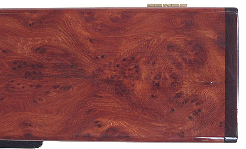 Redwood burl pill box top close - up - Handcrafted decorative wood weekly pill organizer