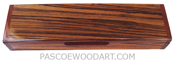Handcrafted wood pill box - Decorative wood weekly pill box made of zebra wood with bloodwood ends