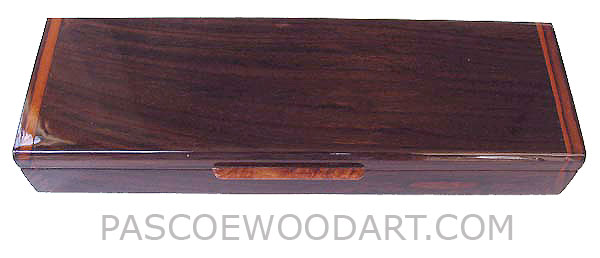 Handcrafted decorative wood weekly pill organizer made of Indian rosewood with amboyna burl lift handle