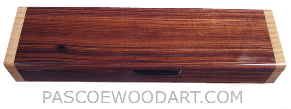 Handmade wood weekly pill box - Decorative wood 7 day pill organizer made of Brazilian kingwood with figured maple ends